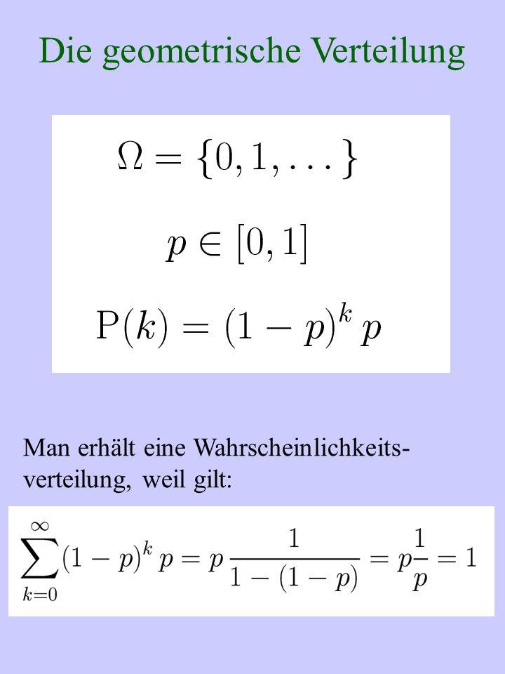 Die geometrische Verteilung Man erhält eine Wahrscheinlichkeits- verteilung, weil gilt: