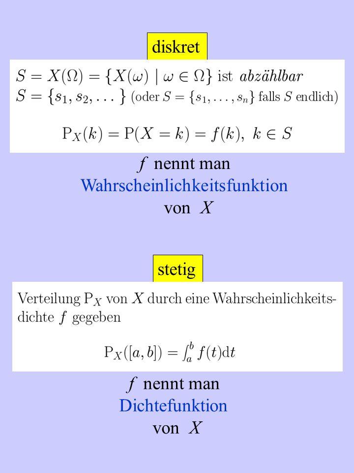 diskret f nennt man Wahrscheinlichkeitsfunktion von X stetig f nennt man Dichtefunktion von X
