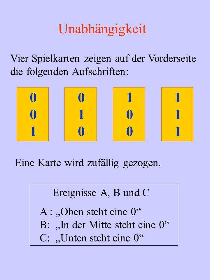 Unabhängigkeit Vier Spielkarten zeigen auf der Vorderseite die folgenden Aufschriften: 1 Eine Karte wird zufällig gezogen.