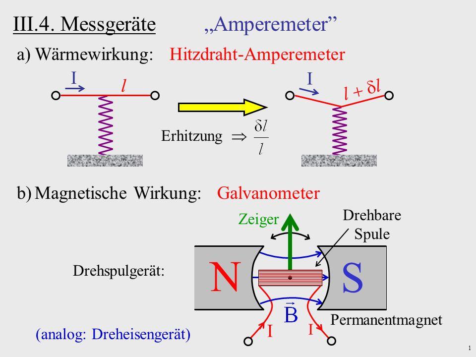 1 III.4. Messgeräte Amperemeter a)Wärmewirkung: Hitzdraht-Amperemeter I l Erhitzung I l b)Magnetische Wirkung: Galvanometer N S Permanentmagnet Zeiger