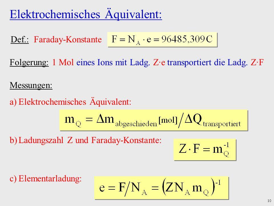 10 Elektrochemisches Äquivalent: Def.: Faraday-Konstante Folgerung: 1 Mol eines Ions mit Ladg. Z·e transportiert die Ladg. Z·F Messungen: a)Elektroche