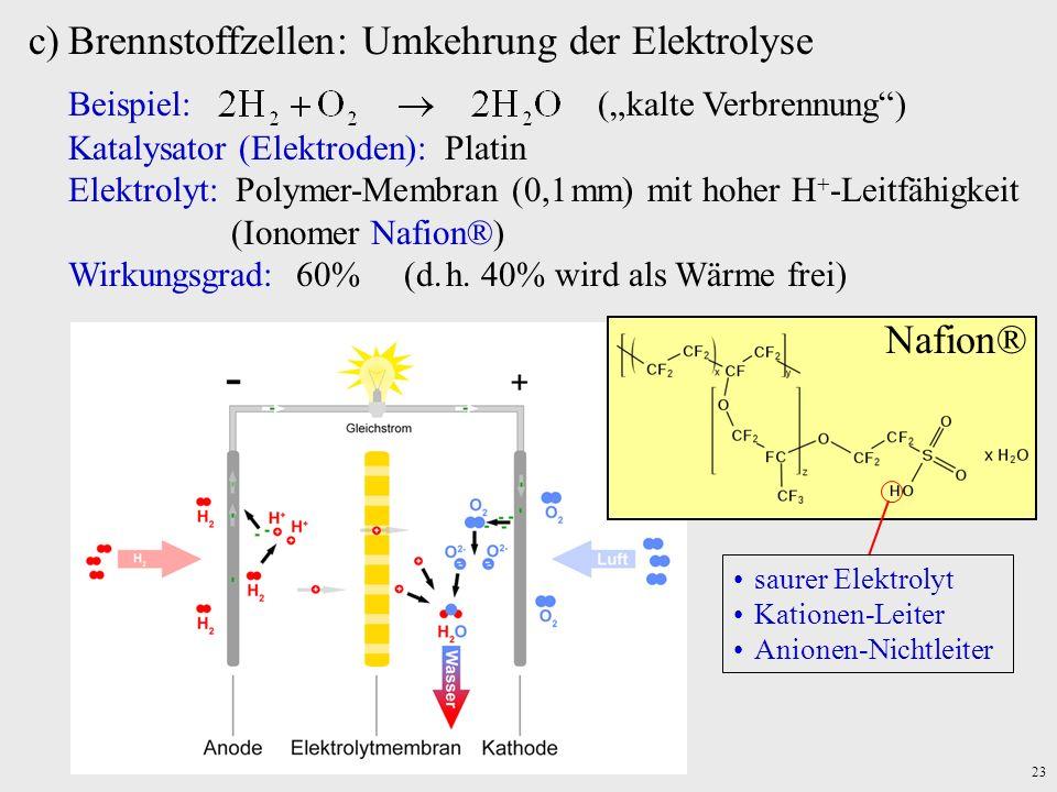 23 c)Brennstoffzellen: Umkehrung der Elektrolyse Beispiel: (kalte Verbrennung) Katalysator (Elektroden): Platin Elektrolyt: Polymer-Membran (0,1 mm) m