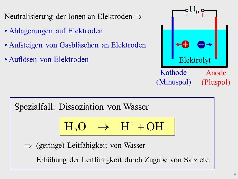 6 Neutralisierung der Ionen an Elektroden Ablagerungen auf Elektroden Aufsteigen von Gasbläschen an Elektroden Auflösen von Elektroden Spezialfall: Di