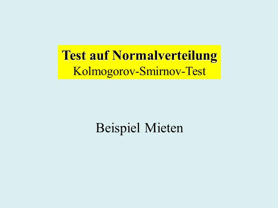 Test auf Normalverteilung Kolmogorov-Smirnov-Test Beispiel Mieten