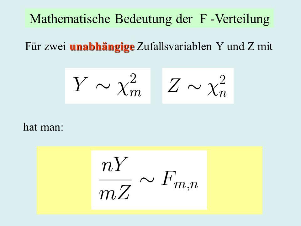unabhängige Für zwei unabhängige Zufallsvariablen Y und Z mit hat man: Mathematische Bedeutung der F -Verteilung