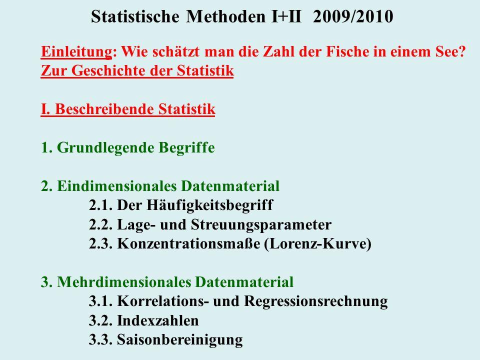 Statistische Methoden I+II 2009/2010 Einleitung: Wie schätzt man die Zahl der Fische in einem See? Zur Geschichte der Statistik I. Beschreibende Stati