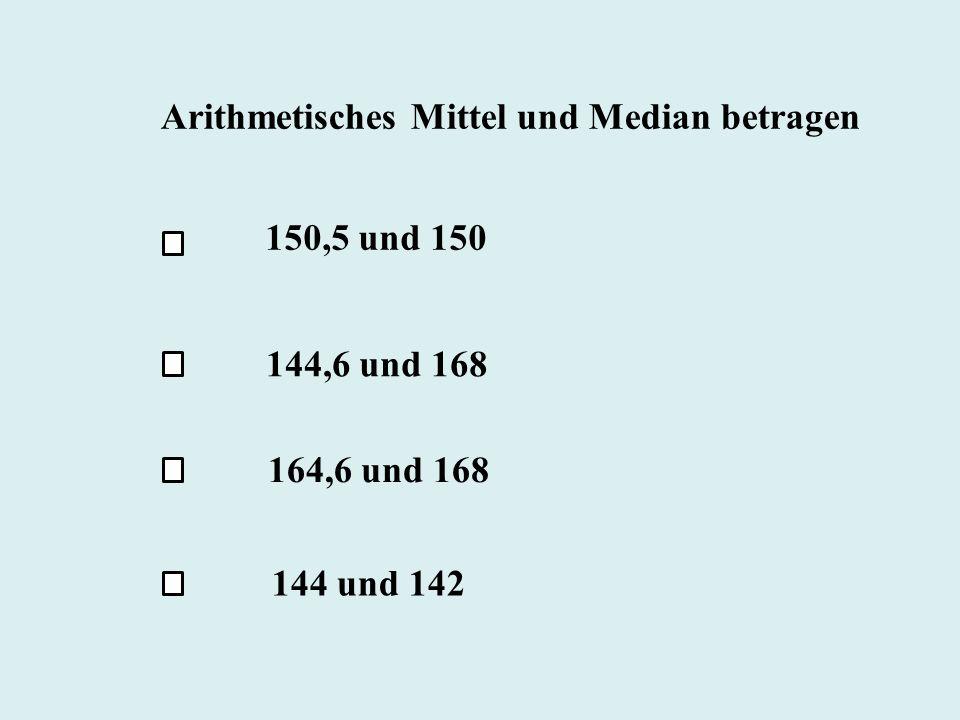 Arithmetisches Mittel und Median betragen 150,5 und 150 144,6 und 168 164,6 und 168 144 und 142