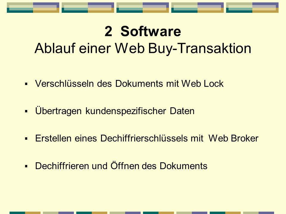 2 Software Ablauf einer Web Buy-Transaktion Verschlüsseln des Dokuments mit Web Lock Übertragen kundenspezifischer Daten Erstellen eines Dechiffrierschlüssels mit Web Broker Dechiffrieren und Öffnen des Dokuments
