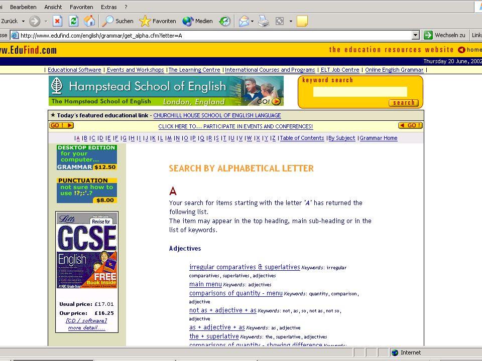 Grammatikprogramme www.edufind.com/english/grammar www.tmx.de www.thinkred.com