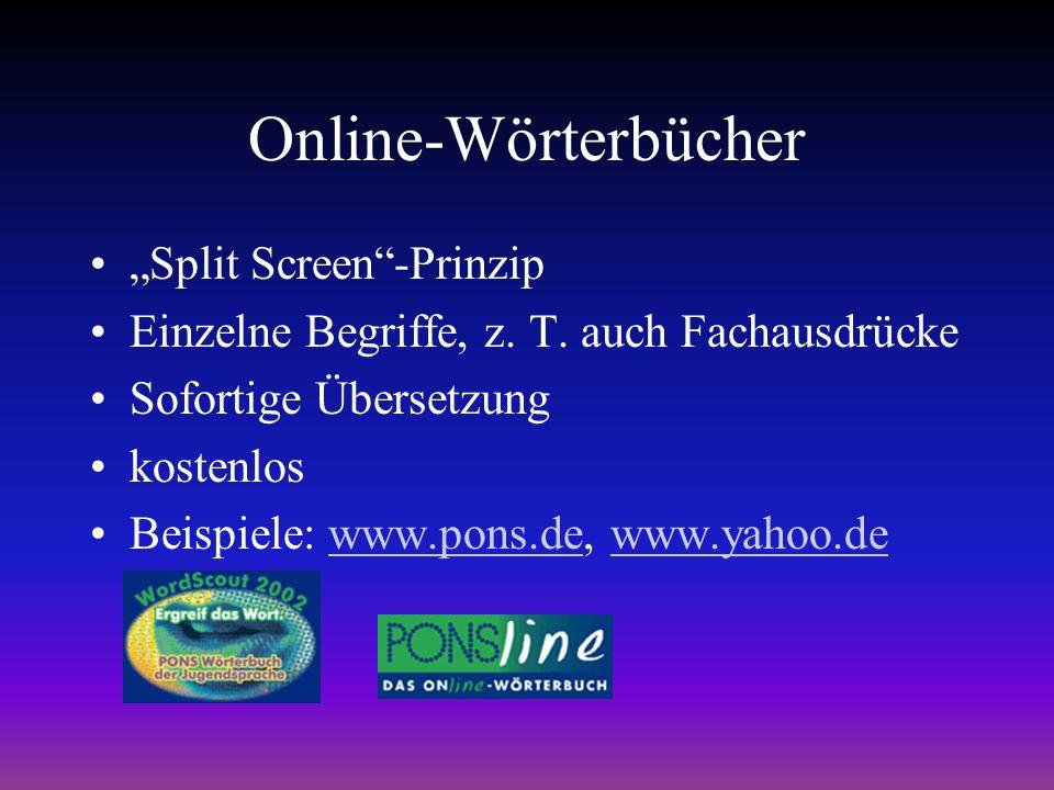 Online-Wörterbücher Split Screen-Prinzip Einzelne Begriffe, z.