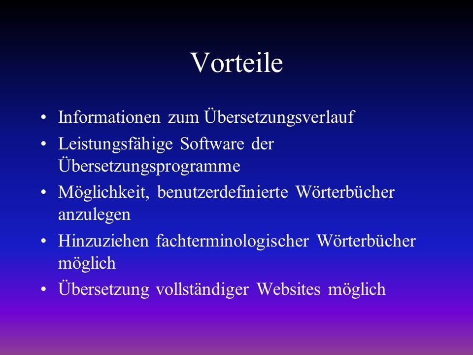 Vorteile Informationen zum Übersetzungsverlauf Leistungsfähige Software der Übersetzungsprogramme Möglichkeit, benutzerdefinierte Wörterbücher anzulegen Hinzuziehen fachterminologischer Wörterbücher möglich Übersetzung vollständiger Websites möglich