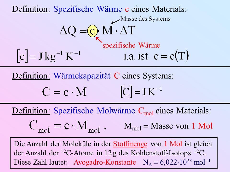 Definition: Spezifische Wärme c eines Materials: Masse des Systems spezifische Wärme Definition: Wärmekapazität C eines Systems: Definition: Spezifische Molwärme C mol eines Materials:, M mol Masse von 1 Mol Die Anzahl der Moleküle in der Stoffmenge von 1 Mol ist gleich der Anzahl der 12 C-Atome in 12 g des Kohlenstoff-Isotops 12 C.