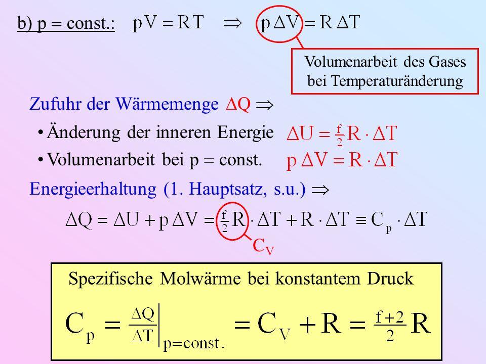 b) p const.: Spezifische Molwärme bei konstantem Druck Volumenarbeit des Gases bei Temperaturänderung Zufuhr der Wärmemenge Q Änderung der inneren Energie Volumenarbeit bei p const.