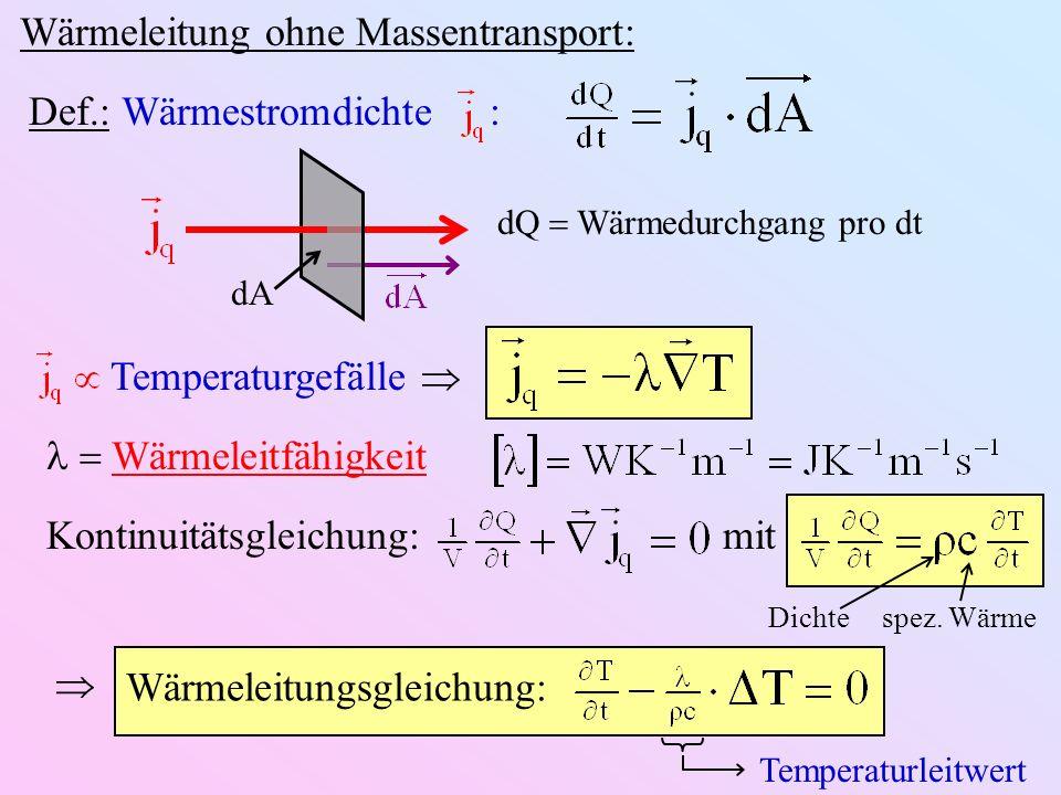 Wärmeleitung ohne Massentransport: dA dQ Wärmedurchgang pro dt Def.: Wärmestromdichte : Temperaturgefälle Wärmeleitfähigkeit Kontinuitätsgleichung: mit spez.