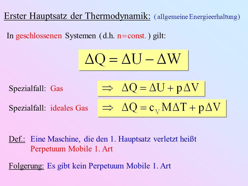 Erster Hauptsatz der Thermodynamik: ( allgemeine Energieerhaltung ) In geschlossenen Systemen ( d.h.