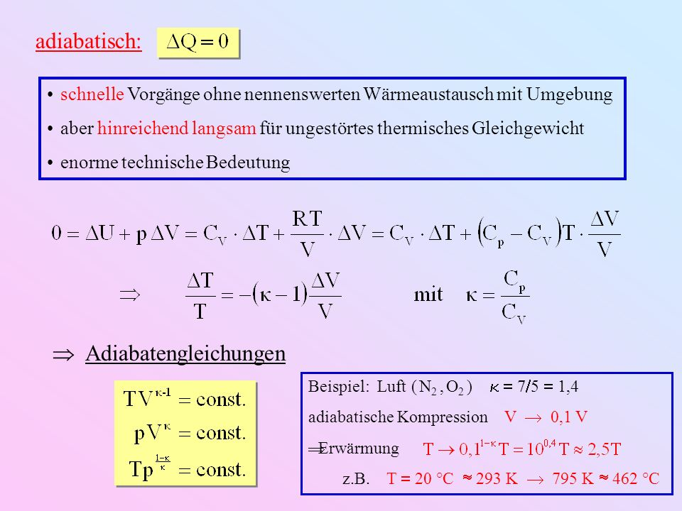 adiabatisch: schnelle Vorgänge ohne nennenswerten Wärmeaustausch mit Umgebung aber hinreichend langsam für ungestörtes thermisches Gleichgewicht enorme technische Bedeutung Adiabatengleichungen Beispiel: Luft ( N 2, O 2 ) 7 5 1,4 adiabatische Kompression V 0,1 V Erwärmung z.B.