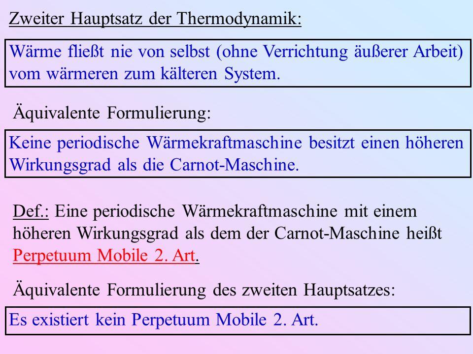 Zweiter Hauptsatz der Thermodynamik: Wärme fließt nie von selbst (ohne Verrichtung äußerer Arbeit) vom wärmeren zum kälteren System.