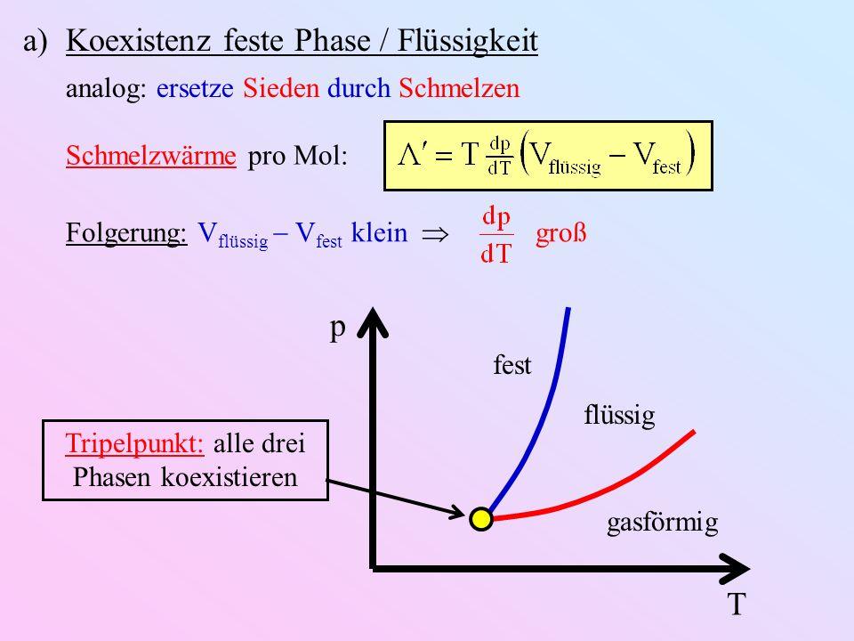 a)Koexistenz feste Phase / Flüssigkeit analog: ersetze Sieden durch Schmelzen Schmelzwärme pro Mol: Folgerung: V flüssig V fest klein groß T p gasförmig flüssig fest Tripelpunkt: alle drei Phasen koexistieren