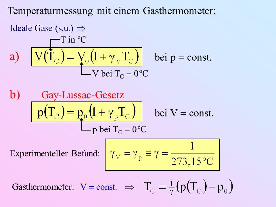 Temperaturmessung mit einem Gasthermometer: Ideale Gase (s.u.) T in ºC bei p const.