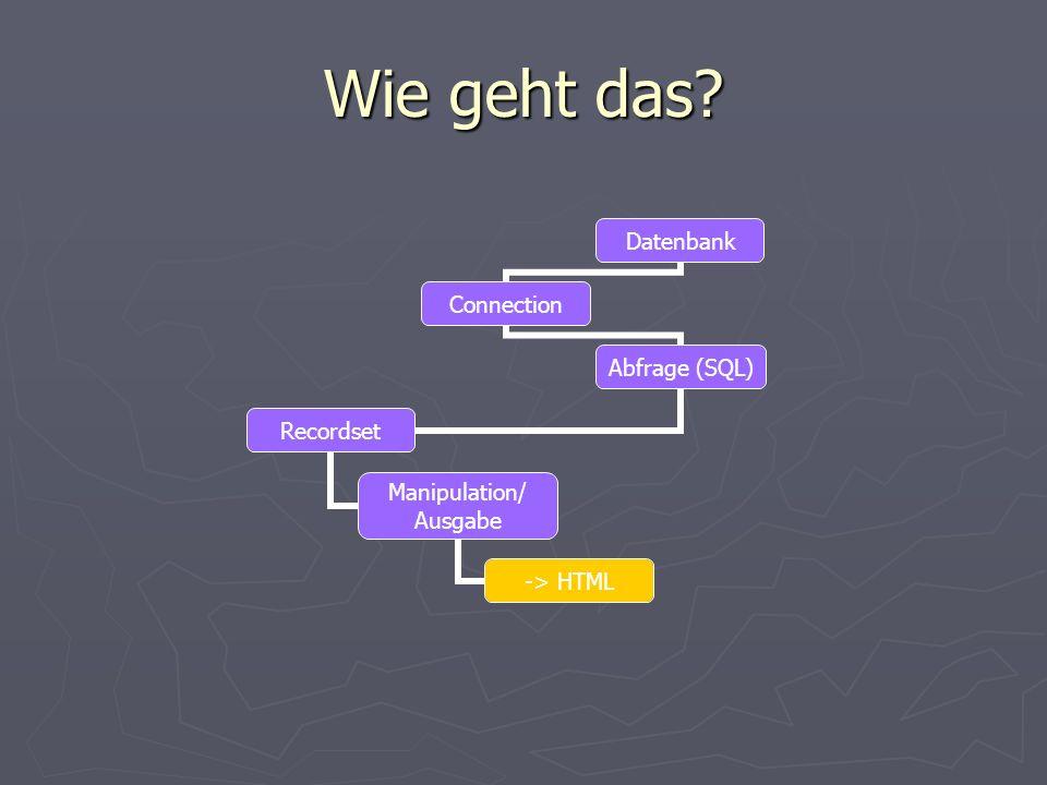 Wie geht das Datenbank Connection Abfrage (SQL) Recordset Manipulation/ Ausgabe -> HTML