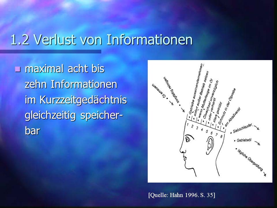 1.2 Verlust von Informationen maximal acht bis maximal acht bis zehn Informationen im Kurzzeitgedächtnis gleichzeitig speicher- bar [Quelle: Hahn 1996