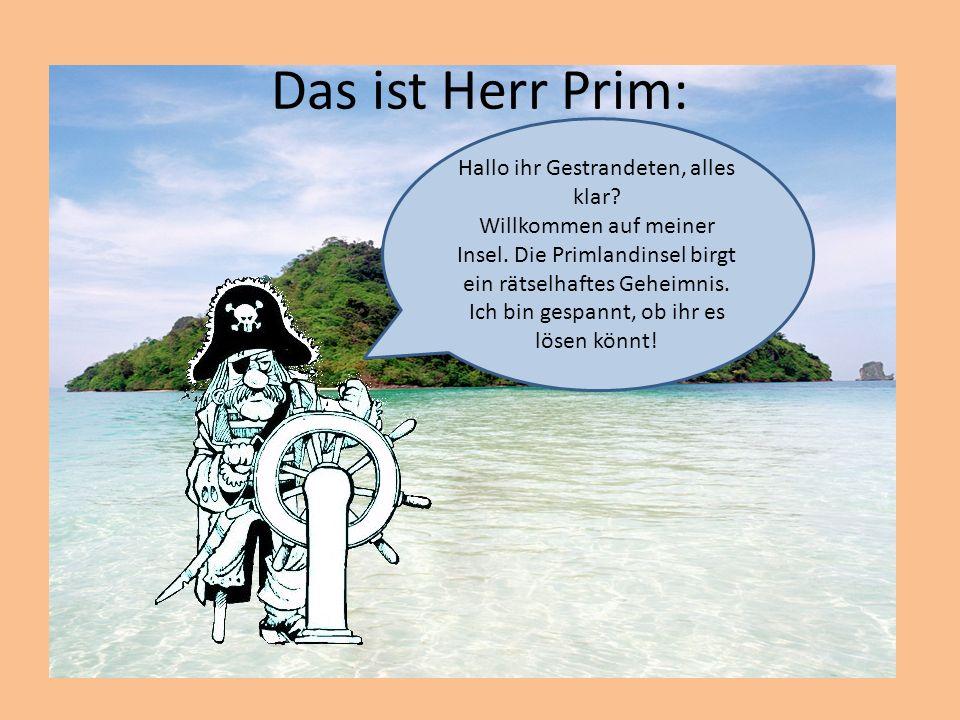 Das ist Herr Prim: Hallo ihr Gestrandeten, alles klar.