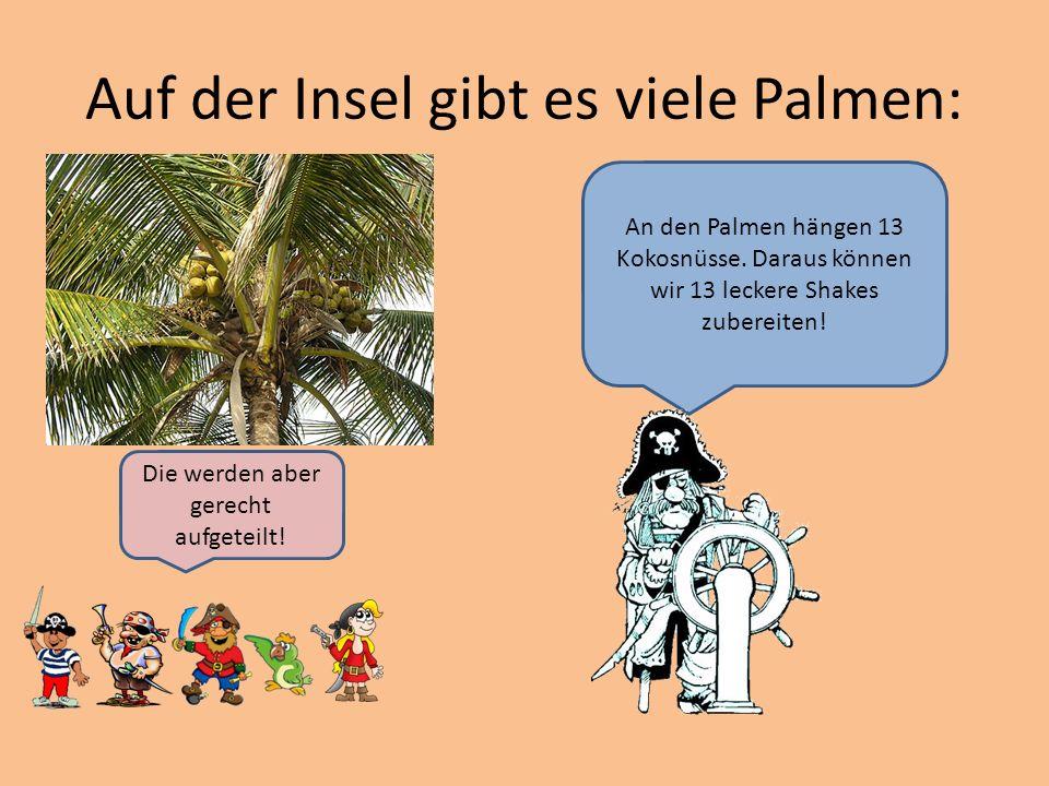 Auf der Insel gibt es viele Palmen: An den Palmen hängen 13 Kokosnüsse.