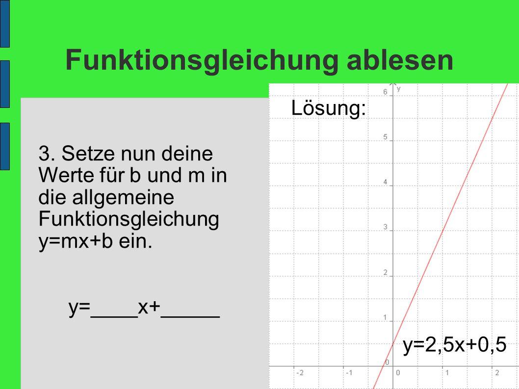 Funktionsgleichung ablesen 3. Setze nun deine Werte für b und m in die allgemeine Funktionsgleichung y=mx+b ein. y=____x+_____ Lösung: y=2,5x+0,5