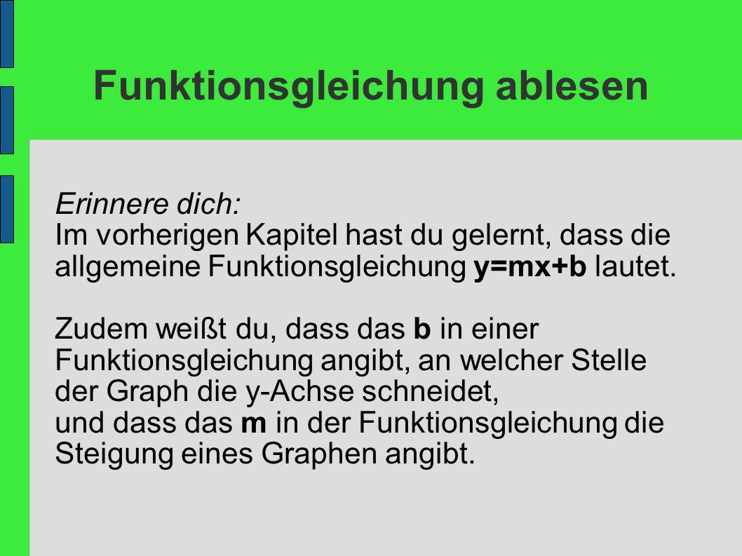 Funktionsgleichung ablesen Erinnere dich: Im vorherigen Kapitel hast du gelernt, dass die allgemeine Funktionsgleichung y=mx+b lautet. Zudem weißt du,