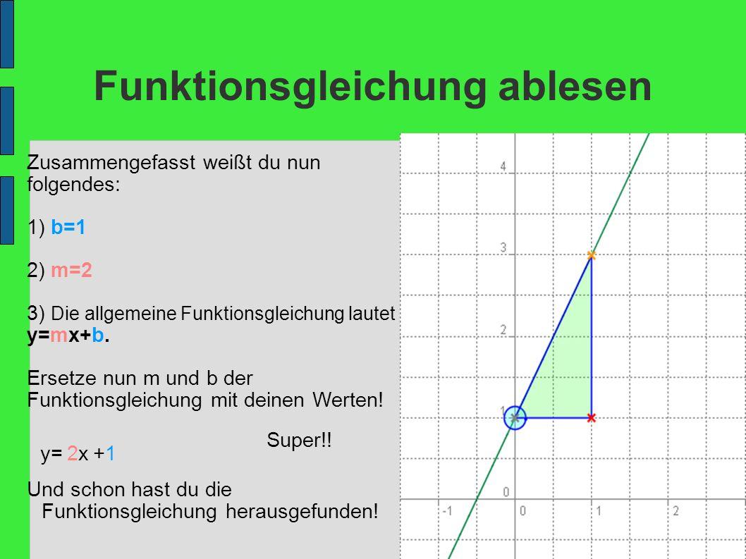 Funktionsgleichung ablesen Zusammengefasst weißt du nun folgendes: 1) b=1 2) m=2 3) Die allgemeine Funktionsgleichung lautet y=mx+b. Ersetze nun m und