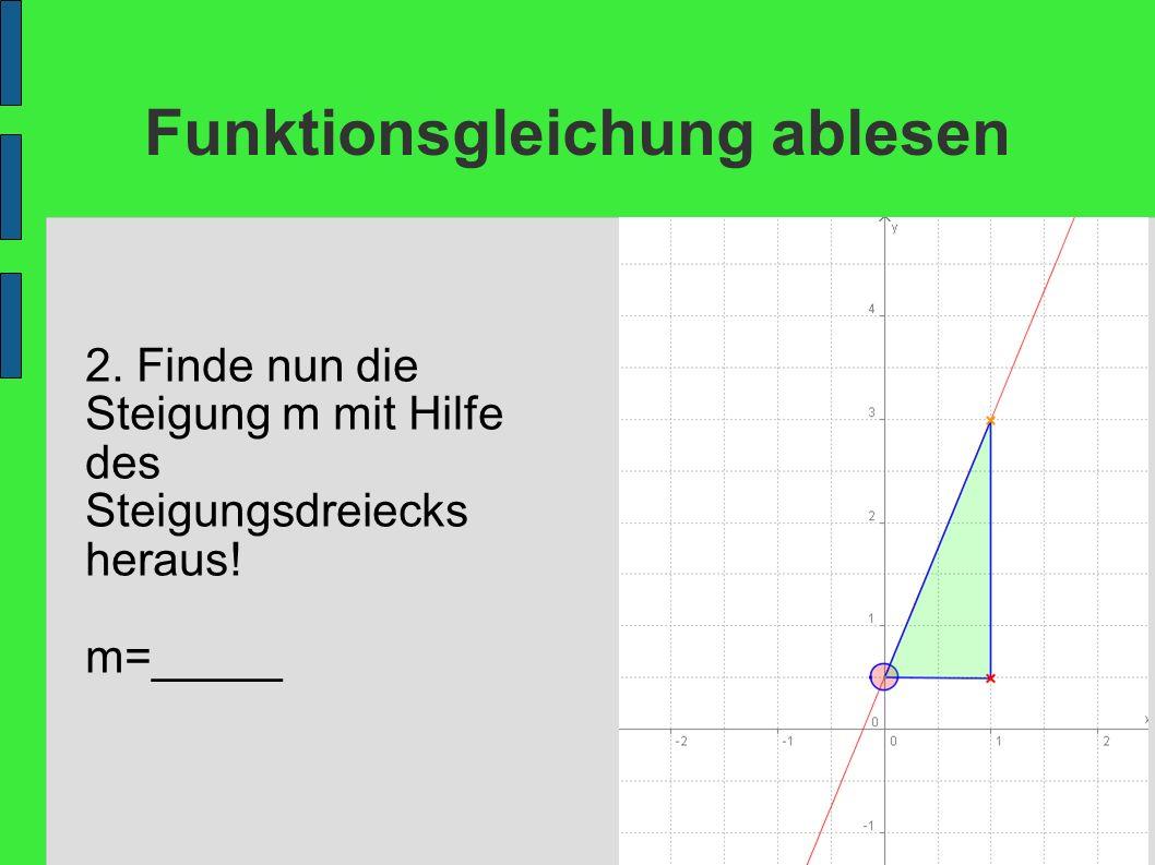Funktionsgleichung ablesen 2. Finde nun die Steigung m mit Hilfe des Steigungsdreiecks heraus! m=_____