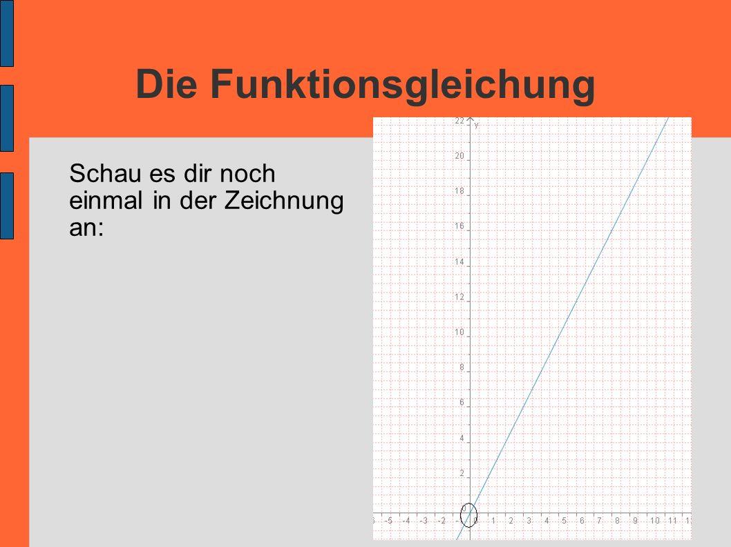 Die Funktionsgleichung Schau es dir noch einmal in der Zeichnung an: