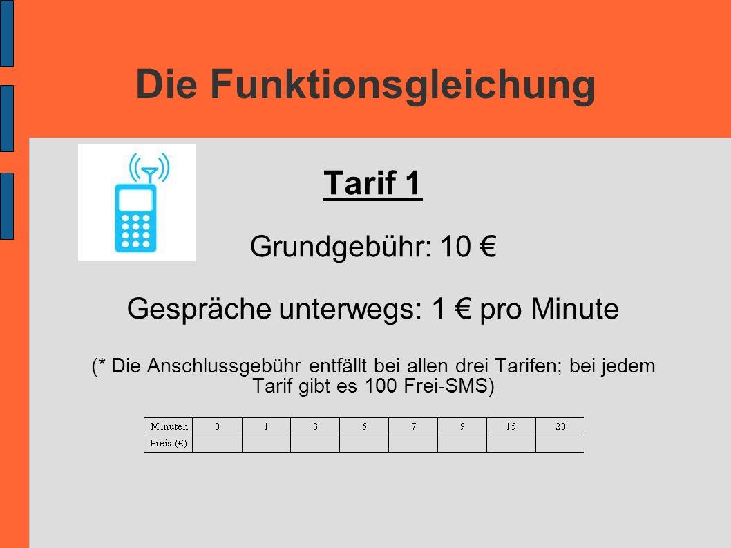 Die Funktionsgleichung Tarif 1 Grundgebühr: 10 Gespräche unterwegs: 1 pro Minute (* Die Anschlussgebühr entfällt bei allen drei Tarifen; bei jedem Tar