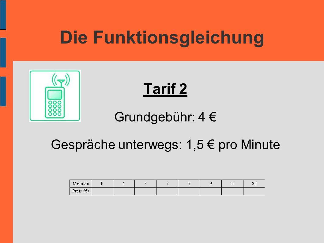 Die Funktionsgleichung Tarif 2 Grundgebühr: 4 Gespräche unterwegs: 1,5 pro Minute