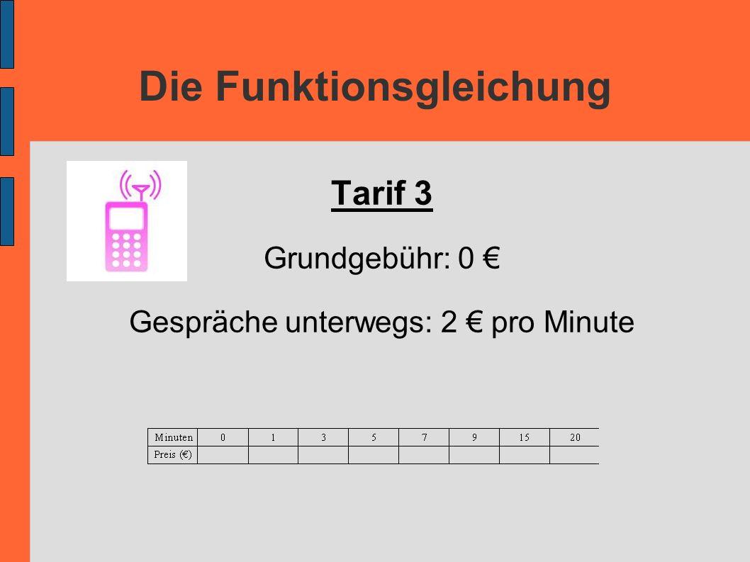 Die Funktionsgleichung Tarif 3 Grundgebühr: 0 Gespräche unterwegs: 2 pro Minute