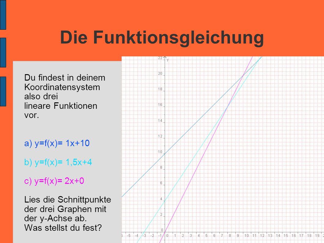 Die Funktionsgleichung Du findest in deinem Koordinatensystem also drei lineare Funktionen vor. a) y=f(x)= 1x+10 b) y=f(x)= 1,5x+4 c) y=f(x)= 2x+0 Lie