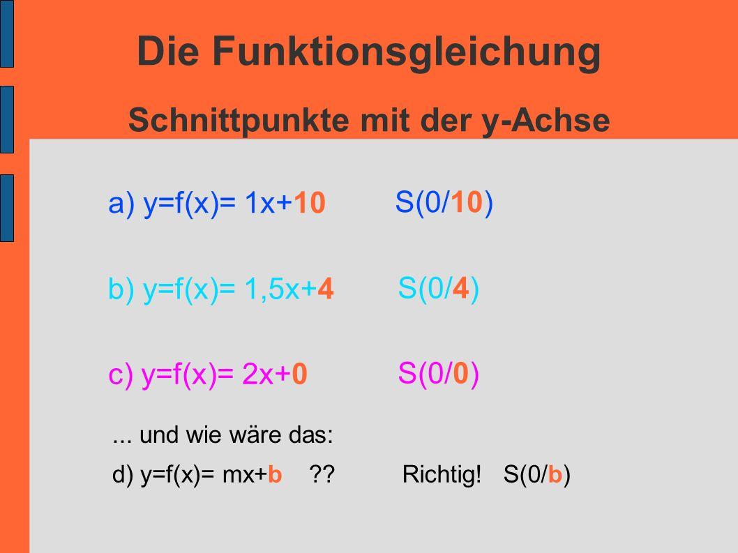 Die Funktionsgleichung Schnittpunkte mit der y-Achse S(0/10) S(0/4) S(0/0) a) y=f(x)= 1x+10 b) y=f(x)= 1,5x+4 c) y=f(x)= 2x+0... und wie wäre das: d)