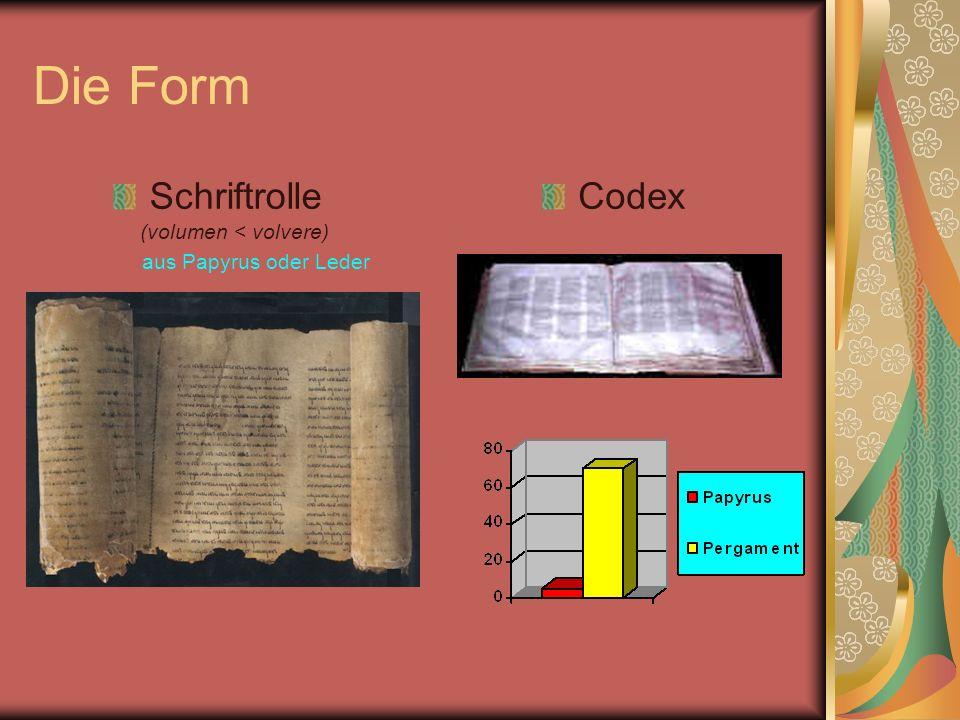 Die Form Schriftrolle (volumen < volvere) aus Papyrus oder Leder Codex