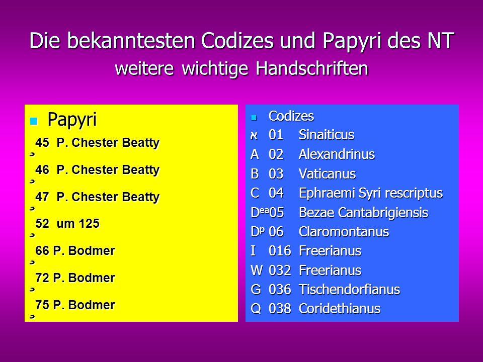 Die bekanntesten Codizes und Papyri des NT weitere wichtige Handschriften Papyri Papyri ¸ 45 P.