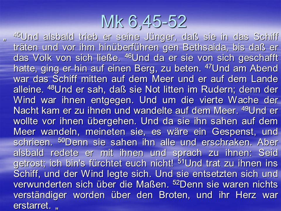 Mk 6,45-52 45 Und alsbald trieb er seine Jünger, daß sie in das Schiff träten und vor ihm hinüberführen gen Bethsaida, bis daß er das Volk von sich li