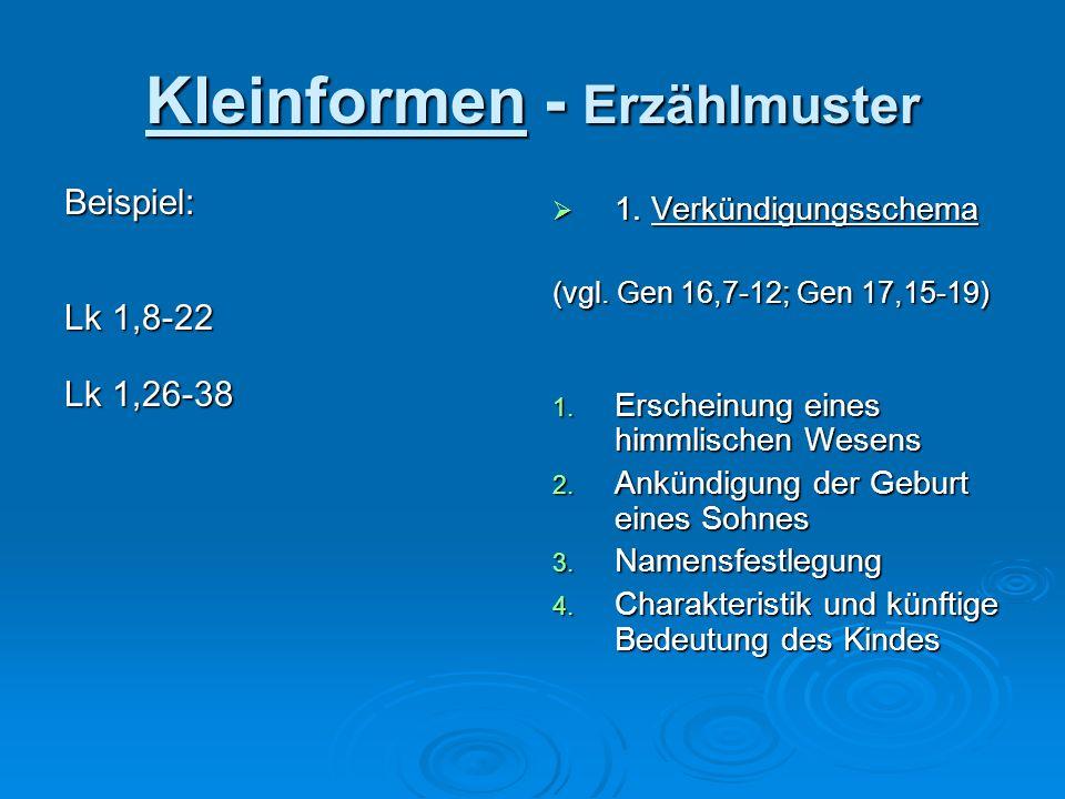 Kleinformen - Erzählmuster Beispiel: Lk 1,8-22 Lk 1,26-38 1. Verkündigungsschema 1. Verkündigungsschema (vgl. Gen 16,7-12; Gen 17,15-19) 1. Erscheinun
