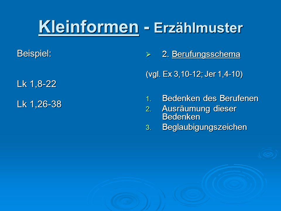 Kleinformen - Erzählmuster Beispiel: Lk 1,8-22 Lk 1,26-38 2. Berufungsschema 2. Berufungsschema (vgl. Ex 3,10-12; Jer 1,4-10) 1. Bedenken des Berufene