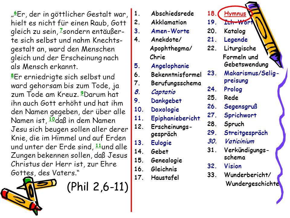 6 Er, der in göttlicher Gestalt war, hielt es nicht für einen Raub, Gott gleich zu sein, 7 sondern entäußer- te sich selbst und nahm Knechts- gestalt