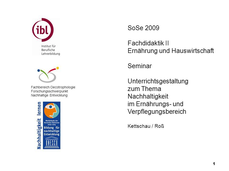 1 Fachbereich Oecotrophologie Forschungsschwerpunkt Nachhaltige Entwicklung SoSe 2009 Fachdidaktik II Ernährung und Hauswirtschaft Seminar Unterrichts