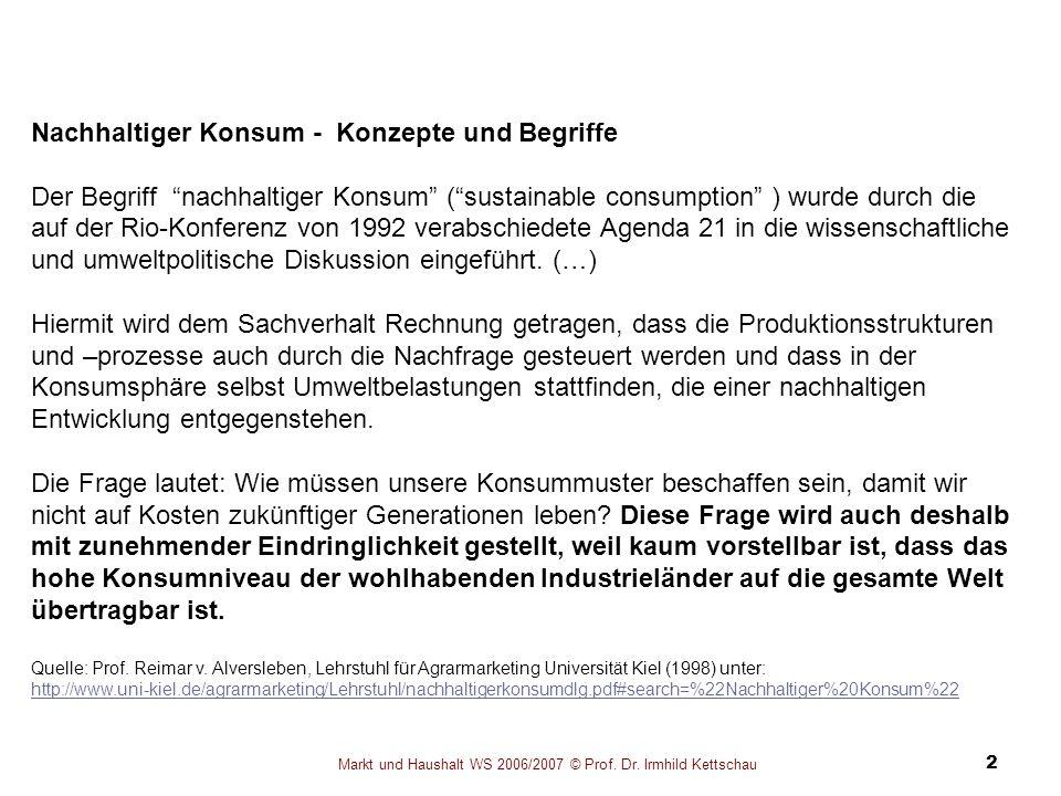 Markt und Haushalt WS 2006/2007 © Prof. Dr. Irmhild Kettschau 2 Nachhaltiger Konsum - Konzepte und Begriffe Der Begriff nachhaltiger Konsum (sustainab