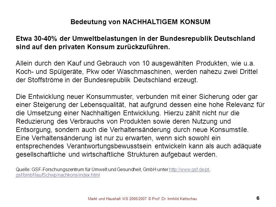 Markt und Haushalt WS 2006/2007 © Prof. Dr. Irmhild Kettschau 6 Bedeutung von NACHHALTIGEM KONSUM Etwa 30-40% der Umweltbelastungen in der Bundesrepub