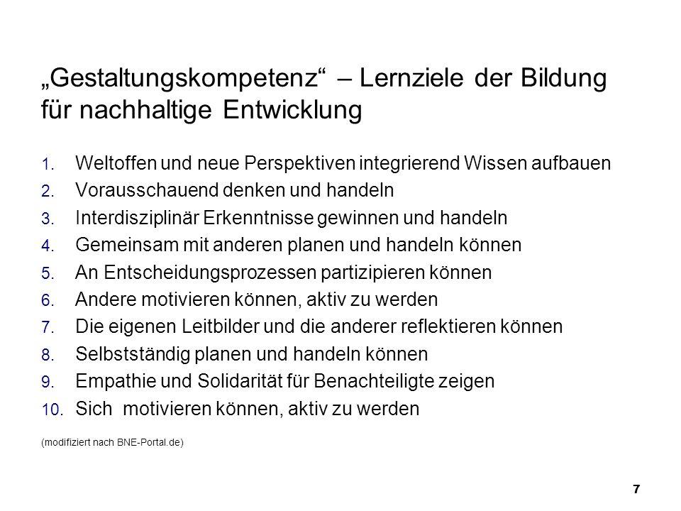 Unterrichts- und Organisationsprinzipien des BLK-Förderprogramms «Bildung für eine nachhaltige Entwicklung» (nach BLK 1999, S.