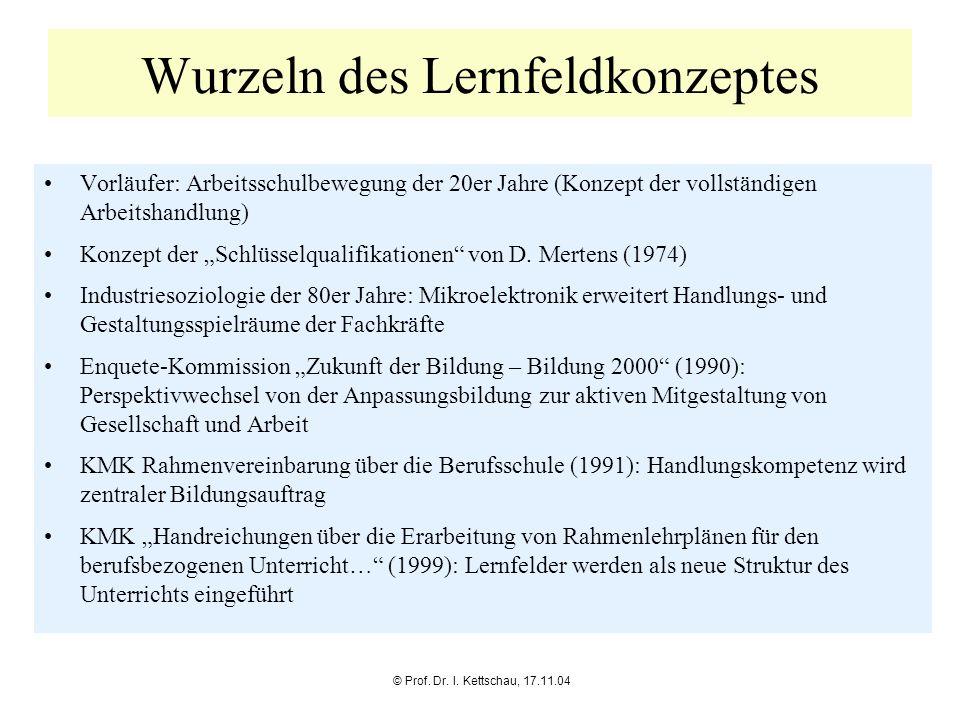 © Prof. Dr. I. Kettschau, 17.11.04 Wurzeln des Lernfeldkonzeptes Vorläufer: Arbeitsschulbewegung der 20er Jahre (Konzept der vollständigen Arbeitshand