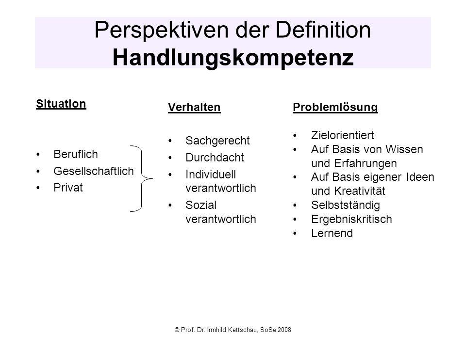 © Prof. Dr. Irmhild Kettschau, SoSe 2008 Perspektiven der Definition Handlungskompetenz Situation Beruflich Gesellschaftlich Privat Verhalten Sachgere