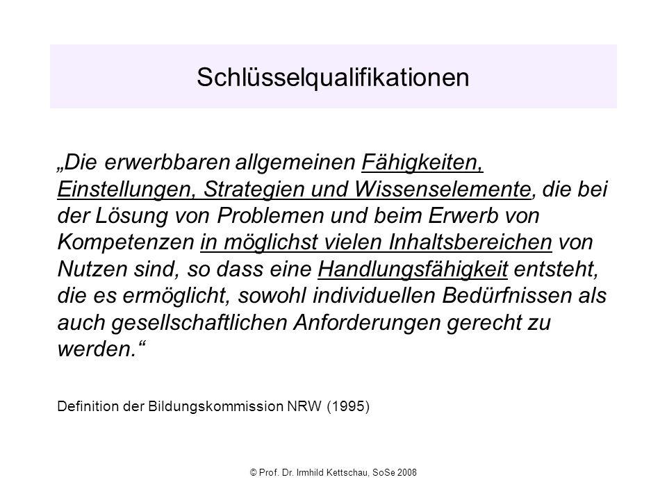 © Prof. Dr. Irmhild Kettschau, SoSe 2008 Schlüsselqualifikationen Die erwerbbaren allgemeinen Fähigkeiten, Einstellungen, Strategien und Wissenselemen